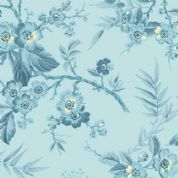 Makower UK - Something Blue - 6039 - Bouquet Floral on Pale Blue - 8822_W - Cotton Fabric